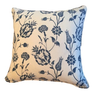 Blue Printed Fabric Pillows - A Pair