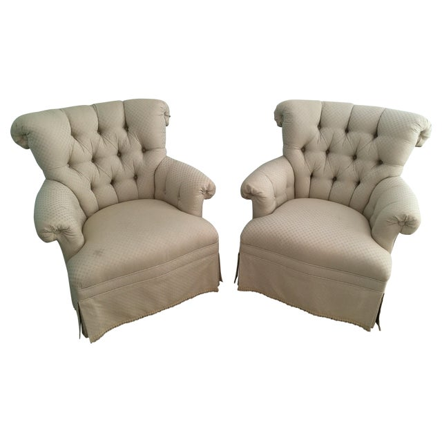 Image of Tufted French Chairs - A Pair