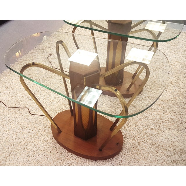 Mid-Century Brass & Glass Lighted Side Tables - Image 4 of 10