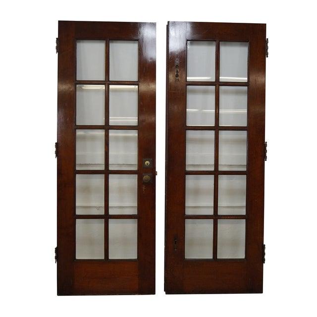 Vintage mahogany double french doors a pair chairish for Mahogany french doors