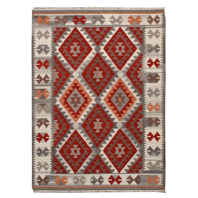 Image of Apadana - Red & Gray, 6 x 8 Multicolor Kilim Rug