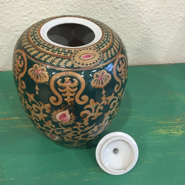 Vintage Chinese Green and Gold Vase With Lid - Image 5 of 5