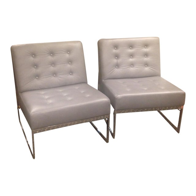 Leather & Chrome Accent Chairs - A Pair - Image 1 of 7