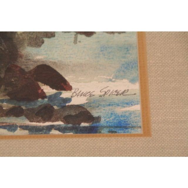 Original Bruce Spicer Vintage Coastal Watercolor Painting - Image 6 of 9