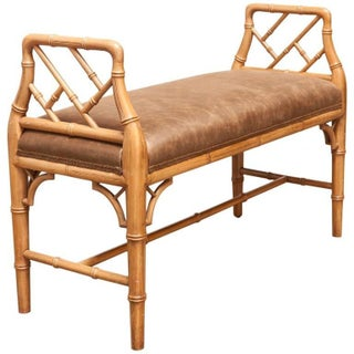 Chinese Chippendale Faux Bamboo Window Bench