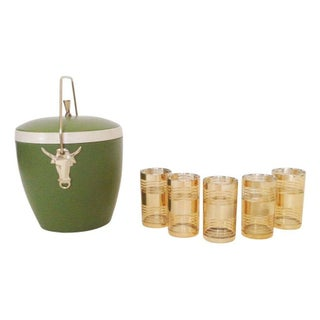 Vintage Gold Cocktail Glasses and Ice Bucket
