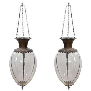 Spectacular Large Antique Drugstore Glass & Bronze Show Globes Chandeliers