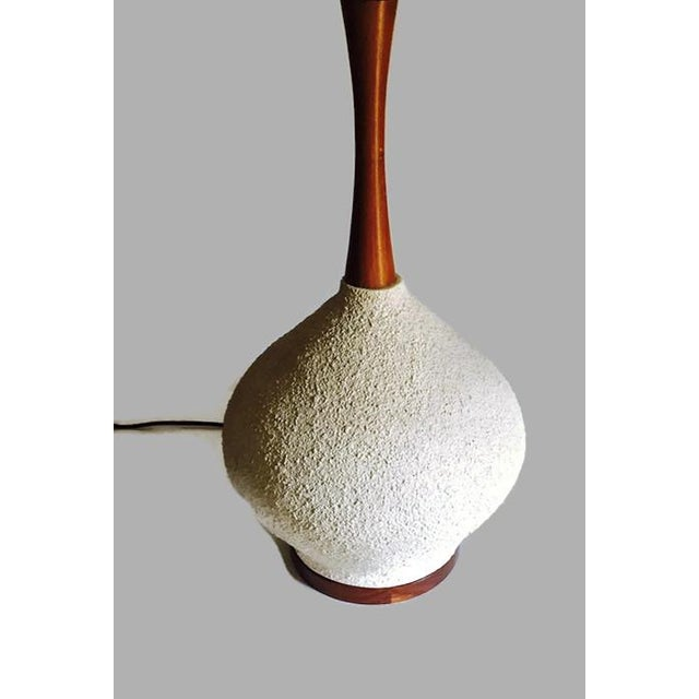 Danish Mid-Century Walnut Pottery Bulb Table Lamp - Image 4 of 5