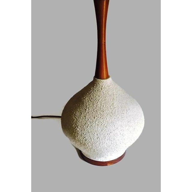 Image of Danish Mid-Century Walnut Pottery Bulb Table Lamp