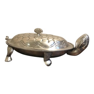 Lidded Silver Turtle