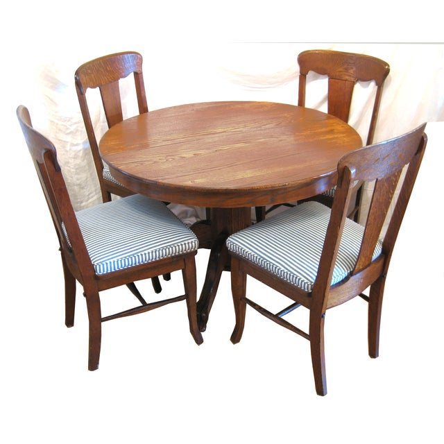 Round Claw Foot Oak Dining Set - Image 2 of 6
