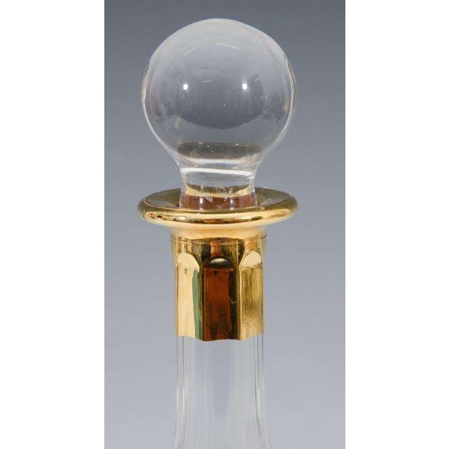 Italian Crystal Decanter, Gold Greek Key Design - Image 3 of 3