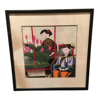 Antique Chinese Gouache Painting of Two Elegant Women