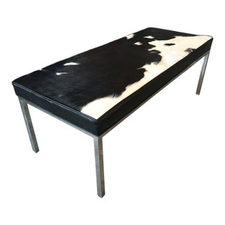 Upholstered Cowhide Leather Bench