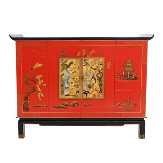 Black Lacquer Two-Tone Cabinet Bachelor Chest