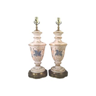 Enameled Flora Satin Glass Lamps-A Pair
