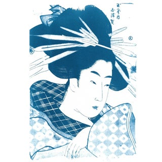 Geisha With Chopsticks in Hair Cyanotype Print