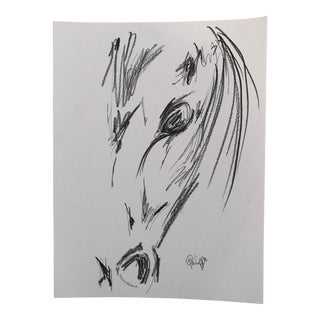 Original Artwork Charcoal Ink on Paper Horse