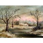 Image of 1910 Impressionist Winter Landscape Painting