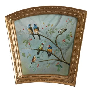 Vintage Birds in Holly Tree Painting