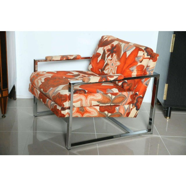 A Pair of Milo Baughman Polished Chrome Club Chairs - Image 3 of 9
