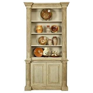 French Painted Bureau Bookcase with Bottom Cupboard