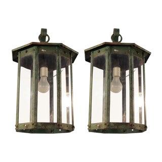 Steel Exterior Lantern Sconces - A Pair