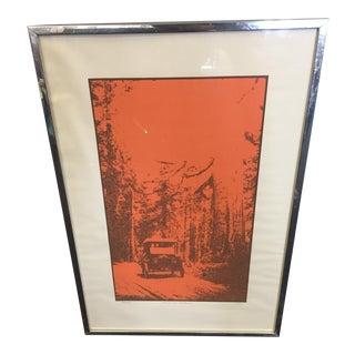 1970 Car in the Redwoods Art Print