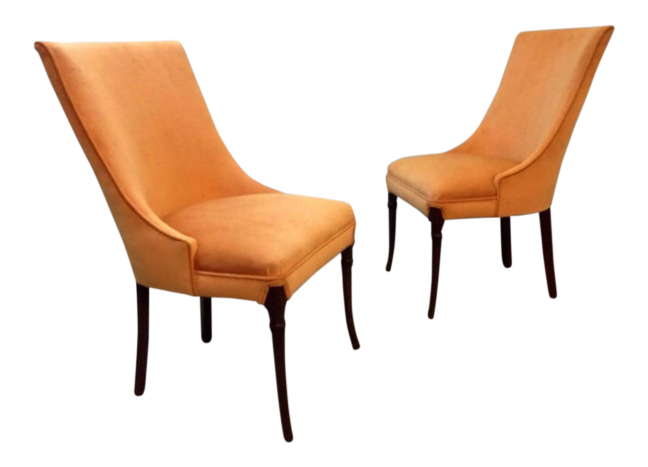 vintage orange carved mahogany chairs a pair
