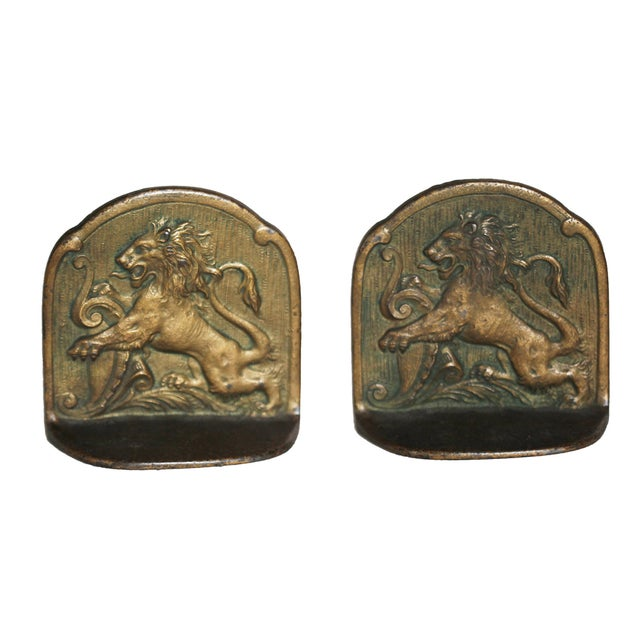 European Antique Brass Bookends - Image 6 of 6
