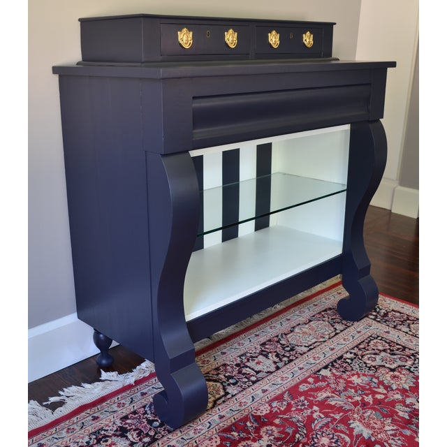 Antique Empire Buffet Bar in Navy Blue & White - Image 3 of 8