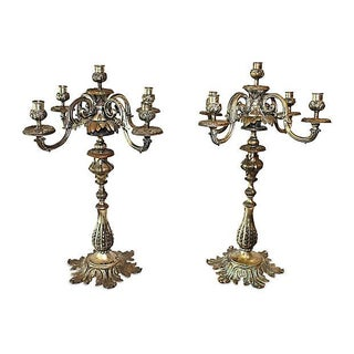 Antique French Bronze Candelabra - A Pair