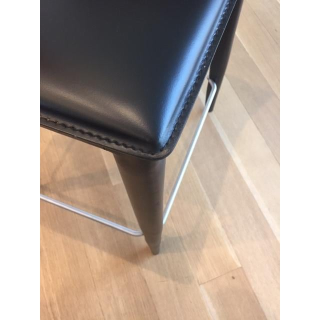 Black Leather Bottega Counter Stools - Set of 4 - Image 8 of 11
