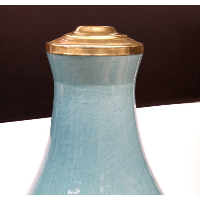 Custom Turqoise-Aqua Crackle Table Lamp Bases - A Pair - Image 3 of 8