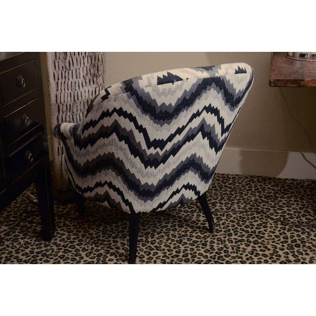 Gray Chevron Napoleon-Style Chair - Image 5 of 8