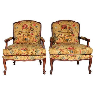 French Country Upholstered Fauteuils - A Pair