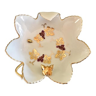 Grapes, Leaves & Butterfly Porcelain Candy Dish