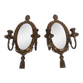 Italian Brass Mirrored Candle Sconces - A Pair