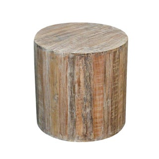 Distressed White Reclaimed Wood Antique Style Round Stool
