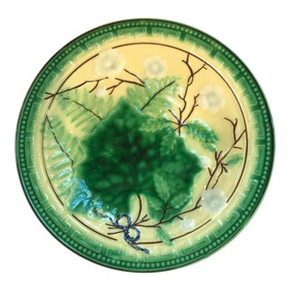 French Majolica Grape Leaf Plate