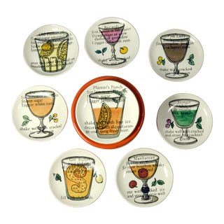 Vintage 1950s Piero Fornasetti Recipe Coasters - Set of 8