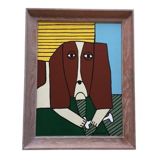 """""""Dog & His Bone"""" Folk Painting by b.d. Floyd"""
