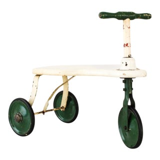 Antique Wood and Metal 3 Wheel Toy Scooter