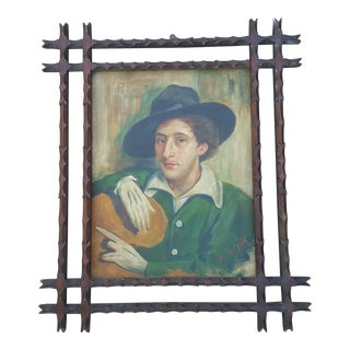 Vintage Bohemian Man Oil Painting