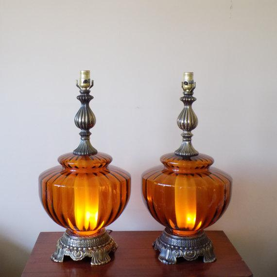 Mid Century Hand Blown Amber Glass Table Lamps   A Pair   Image 2 Of