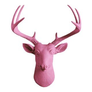 Wall Charmers Mini Deer in Fuchsia Pink Faux Head Mount Bust