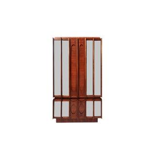 Mid-Century Brutalist Wood & Mirrored Armoire