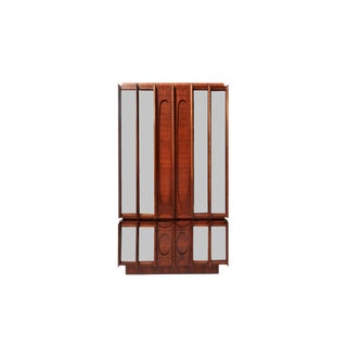 Mid-Century Brutalist Wood & Mirrored Armoire