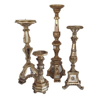 Large Mirrored Candlesticks - Set of 4
