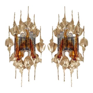 Brutalist Murano Glass Gilt Metal Wall Sconces - A Pair